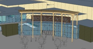 New convention center concourse will include a large Boise Centre sign
