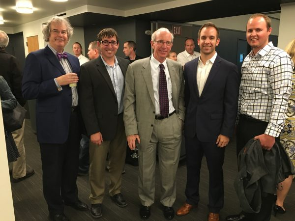 Pictured here are (l-r) Mike Simonds, principal, ZGA Architects; Tucker Anderson, architect, Babcock Wilcox; Bill Beck , founding principal, Tenant Reality Advisors; Andrew Beck, COO, The NutraCommerce Group and Matt Guho, president, Guho Construction Company. Photo by Erika Sather-Smith.