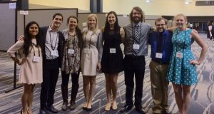College of Idaho students who presented at the Murdock Conference are shown here (l-r): Tanisha Khurana, Leo Trujillo, Hailey Chambers, Florence Wavreil, Natasha Dacic, Will Callahan, Sam Chandler, and Johanna Mori. Photo courtesy of the College of Idaho.