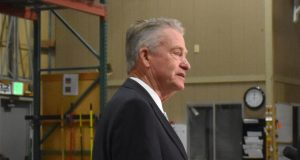Governor Little at the Aug. 21 press conference at the Idaho Food Bank.